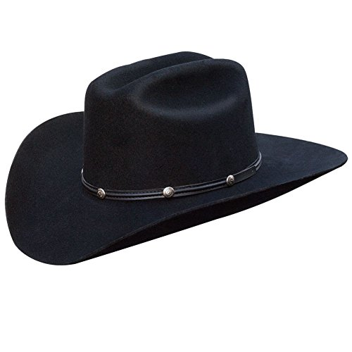 Silverado 100% Wool Felt Low Cattleman Crown 4 Brim Satin Lining Fancy Trim Black 7 3/8