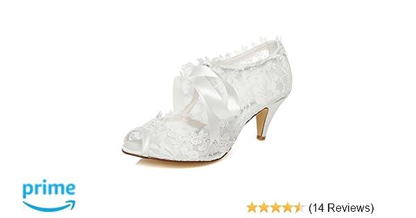 Amazon.com   JIAJIA Womens Bridal Shoes 5949419 Peep Toe Cone Heel Lace Satin Pumps Ribbon Tie Wedding Shoes Color Ivory, Size 5 B(M) US/35 EU   Pumps