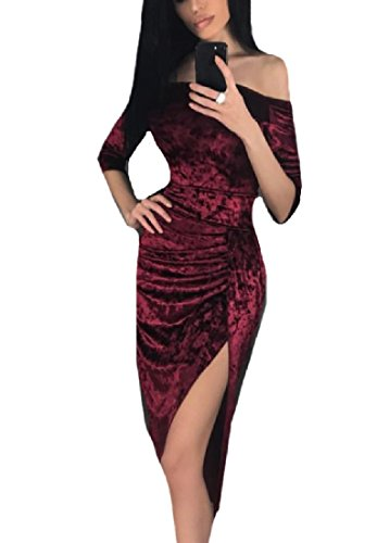 Pencil Coolred Wine Red Line Long A Bodycon Split Women Dress zHqSHcAX8