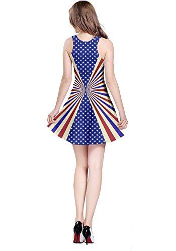 Cowcow Femmes Cosplay Costume Drapeau Américain Perle Fête Nationale Fête Diamant Jewery Robe Sans Manches, Nous Xs-5xl Drapeau