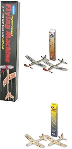 (Guillow Balsa Wood Airplane Set - 3 Balsa Airplane Kits in One Set - Flying Machine, Jetfire Twin Pack, and Sky Streak Twin Pack by Guiloow)