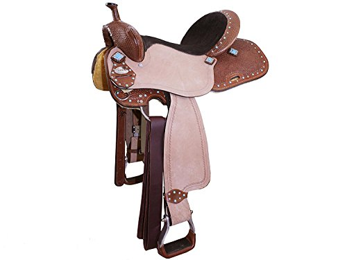 "Tahoe Turquoise Accent Tough Western Barrel Saddle (15.5"")"