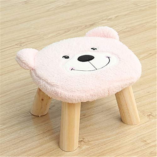 Storage Display Stand Cute Household Decoration Wooden Stools With Plush Fabrics Cover Wood Low Stools Ottoman Upholstered Footstool Round Chair Stool Cute Bear Cartoon Shape For Children Kids Fun - Bear Footstool Plush