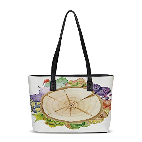 Succulent PU Shoulder Tote Bag,Wood Slice Tree Trunk with Cactus Plants Hand Pa