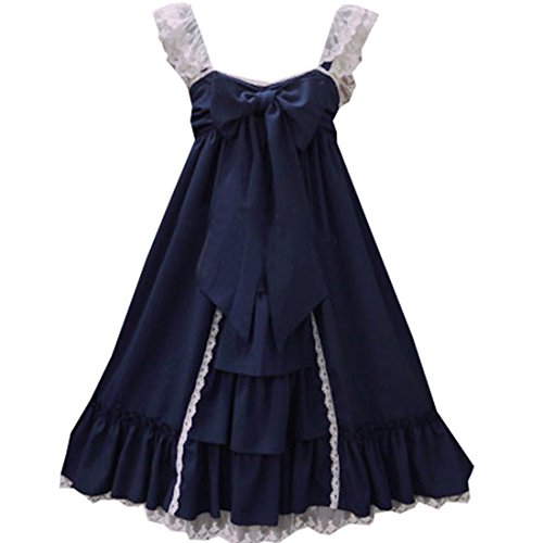 Partiss Lolita Jumper Skirt Women Bow Cotton Classic JSK Navy1 Lace Dress Ruffled ZxrwZS08q