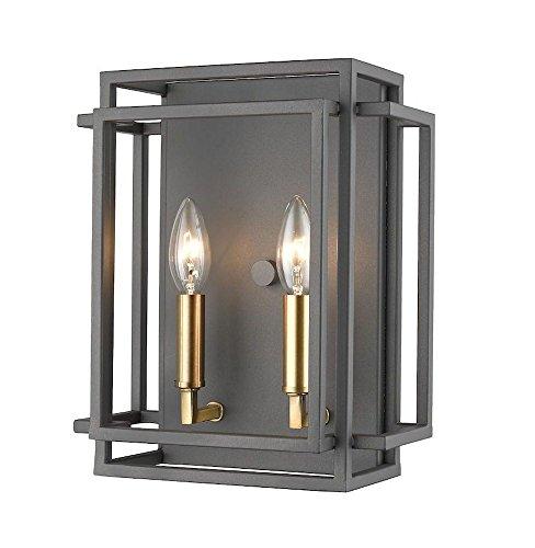 - Z-Lite 454-2S-BRZ-OBR 2 Light Wall Sconce, Bronze + Olde Brass