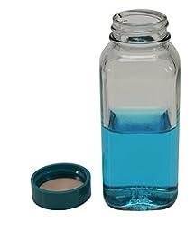 Vestil BTL-SW-G-4-CS Wide-Mouth Square Glass Bottle with Green Cap, 4 oz Capacity, Clear (Pack of 6)