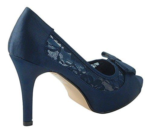 Neue Satin Handtasche Marineblau Hochzeit Gericht Schuhe Damen Abend Chic Passende High Heel Feet Braut Spitze EI1RZ