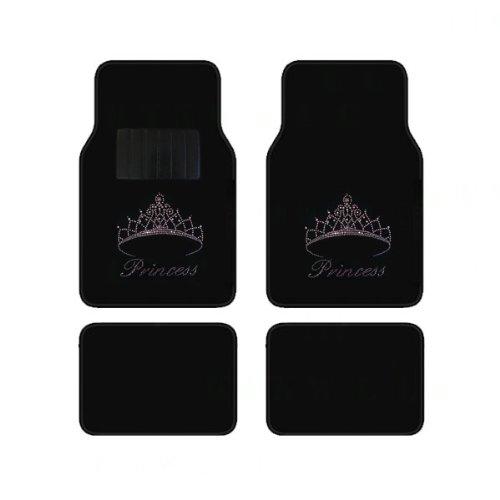 (KAAA Universal Fit Front and Rear Automotive Embedded Rhinestone Carpet Floor Mats - Princess Tiara)