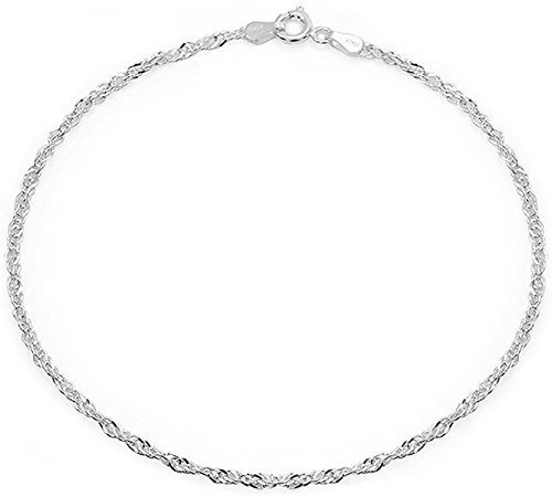 (Singapore Chain Twisted Curb Anklet Ankle Bracelet For Women Hotwife 925 Sterling Silver Made in Italy 9-10 Inch)