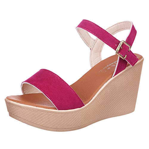 Zlolia Solid Color Wedge Sandals for Women Open Toe Ankle Adjustable Strap Heeled Rubber Sole Platform Slippers Hot Pink