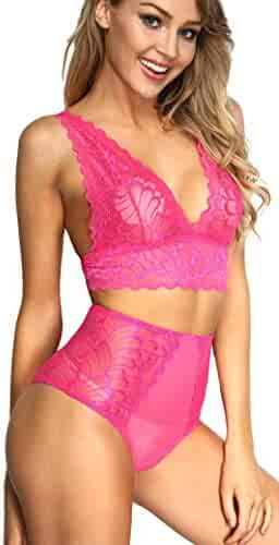 89b77a84b The victory of cupid Women 2 Piece Floral Lingerie Sets Lace Babydoll  Bralette Bra and Panty