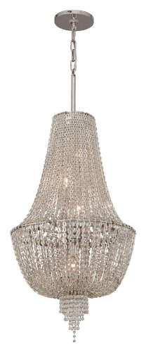 Corbett Lighting 141-45 Vixen - Five Light Small Pendant, Polished Nickel Finish with Clear Crystal