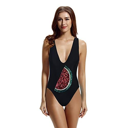 2c5b706ec317b Zeraca Women s Deep V High Cut One Piece Swimsuit Bathing Suits 50 ...