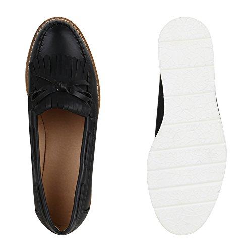 Stiefelparadies Damen Halbschuhe Plateauschuhe Loafer Wedges Keilabsatz Schuhe Lack Brogues Profilsohle Fransen Quasten Slipper Leder-Optik Damenschuhe Flandell Schwarz Fransen