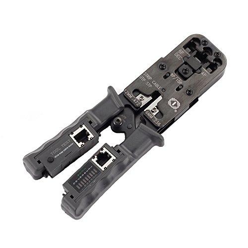 Foto4easy Ethernet Cable Stripper RJ11 RJ12 RJ45 RJ9 6P/DEC 4P 8P Lan Network Cable Pliers Crimper Tool with Test Tool ()