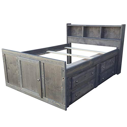 Coaster Wrangle Hill Twin Storage Bookcase Bed in Gun Smoke and Pewter