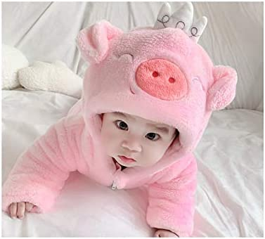 Infant Boys Girls Hooded Pink Pig Snowsuits Jumpsuit Newborn Baby Winter Warm Fleece Snow Suits Romper