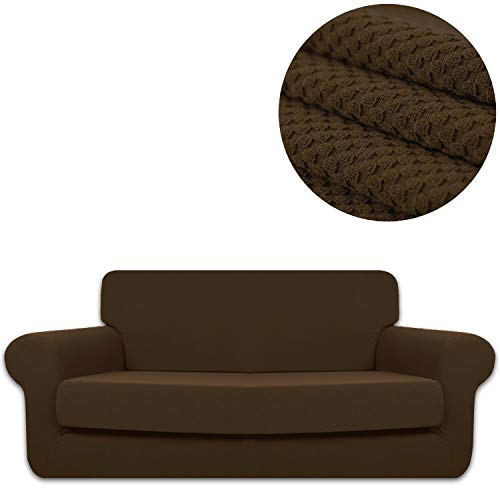(ANJUREN Sofa Loveseat Couch Chair Slipcover Cover with Separate Seat Cushion Cover 2 Piece 2 Seater T Cushion Loveseat Slipcovers Knit Stretch Living Room Furniture Shield Protector (Loveseat,)