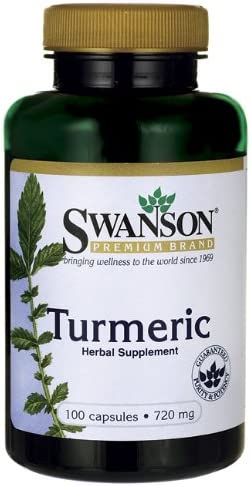 Swanson Premium Brand Turmeric Whole Root Powder Curcuma longa 720 mg, 500 Capsules 5 Bottle of 100 Caps