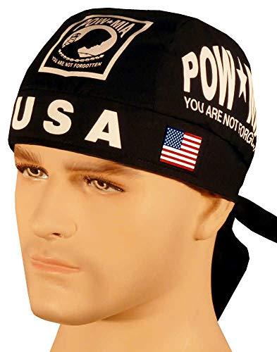 POW MIA Black White Logo with Flag Made in USA America Headwrap Biker Durag with Sweatband -