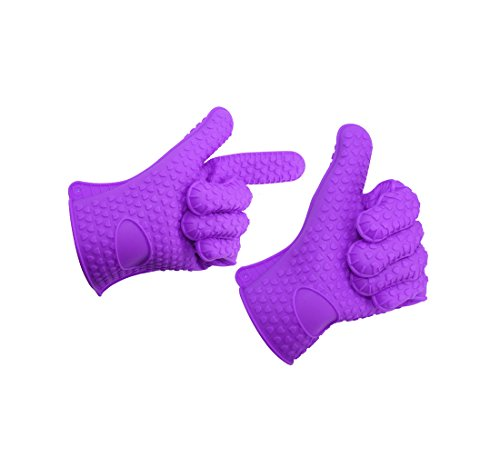 BBQ Oven Gloves,Tocean Best Versatile Heat Resistant Grill Gloves Insulated Silicone Oven Mitts For Grilling, Cooking, Baking, Smoking & Potholder (Purple)