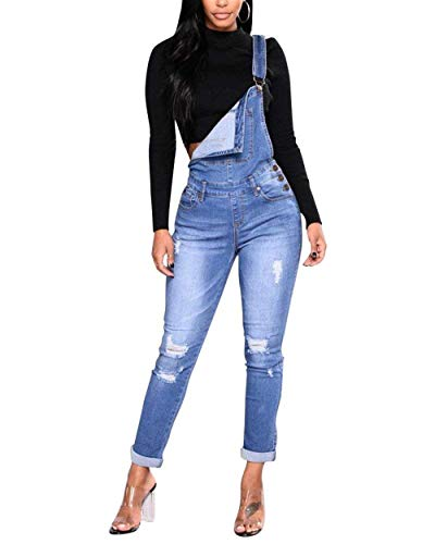 Ripped Babero Jumpsuit Bib Hellblau Huixin Jeans Bolsillos Pantalones Skinny Casual Mezclilla Stretch Con De Mujeres Las wwg7Ofq