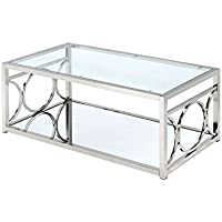 Furniture of America Beller Metal Coffee Table in Chrome