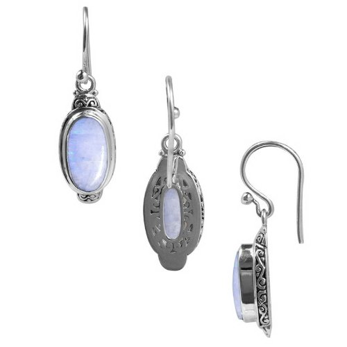 Sterling Silver Earring With Rainbow Moonstone SE-2316-RM ()