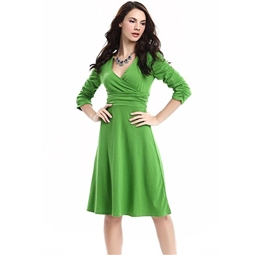 Damen Ihaipi Business Retro Cocktailkleid Grün Kurzärmel Kleid Sommerkleid 50er 14 Faltenrock Jahre V-ausschnitt Fruit -