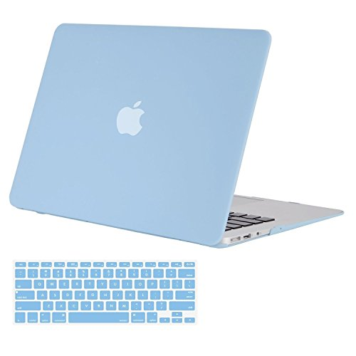 MOSISOMacBook Air 13 Inch Case (Release 2010-2017 Older Version), Plastic Hard Shell Case & Keyboard Cover Only Compatible MacBook Air 13 Inch (A1369 & A1466), Airy Blue