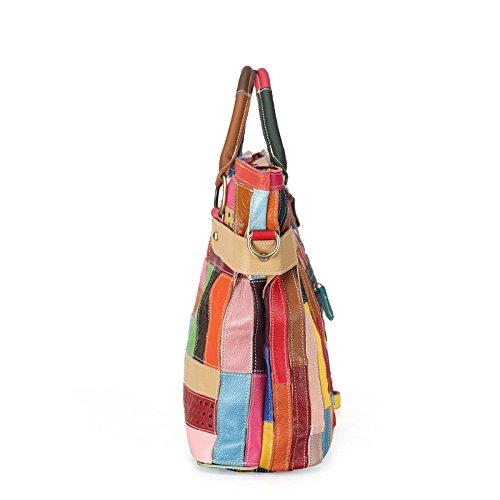 Bolsos Messenger Cuero Portátil Bolsa Personalidad Hit Stitching Características De Bag Ocio A Cuero Señora Color JPFCAK nC5ztt