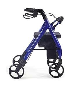 Comodità Prima Heavy-Duty Rolling Walker Rollator with Comfortable 15-Inch Wide Nylon Seat (Metallic Blue)
