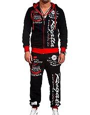 Men's hip-hop dance jogger casual sportswear 2-piece suit,Hip hop Loose SweatpantsGraffiti Sports Jogger Trousers,long-sleeved full-zip running sweatshirt (Color : Red, Size : L)