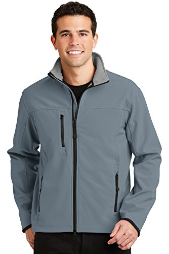 Port Authority Glacier Soft Shell Jacket, Atlantic Blue/Chrome, M (Jacket Glacier Shell Soft)