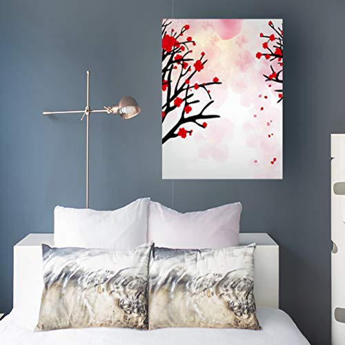 Aika Designs Canvas Prints Wall Art New Cherry Blossom Chinese New Newyear Year Lunar Abstract Textures Art 16 x 16 Inches Modern Painting Decor Stretched Wooden Framed Wrapped -