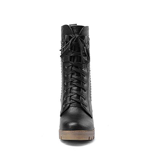 AllhqFashion Damen Mittler Absatz Blend-Materialien Mittler Kalb Rein Schnüren Stiefel, Schwarz, 40