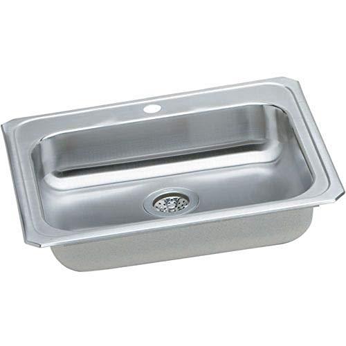 Elkay CR25211 1-Hole Gourmet Single Basin Drop-In Stainless Steel Kitchen Sink, 21-1/4-Inch x - Basin Gourmet