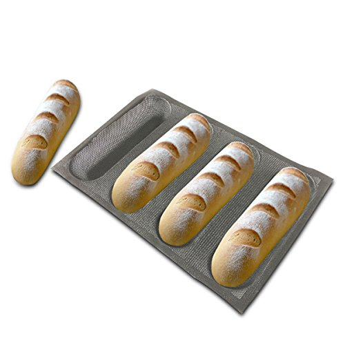 Bluedrop Silicone Bread Forms For Hot Dog Baking Molds Sandwich Making Sheet 4 Cavities 9 inches Loaf Eclair Mats