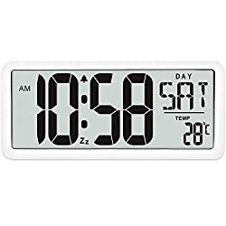 TXL Huge Kitchen Timer Digital Alarm Clock Timer Countdown Stopwatch Timer With Loud Alarm, Big Digit, Calendar Temperature, Back Stand, Hanging Hole for Cooking, Sports, Bathroom, Kids,Teacher, White