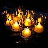 SAK Flameless Candles Light Water Sensor LED Light Battery Operated Tealight Perfect for Wedding, Party and Christmas Decorations Pack of 10
