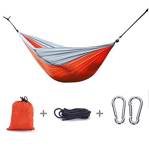 (Goujxcy Double Hammock, Lightweight Nylon Portable Hammock, Parachute Double Hammock for Backpacking, Camping, Travel, Beach, Yard)
