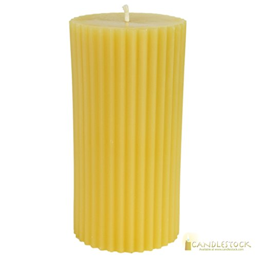 Beeswax Fluted Pillar Candle - 3x6 ()
