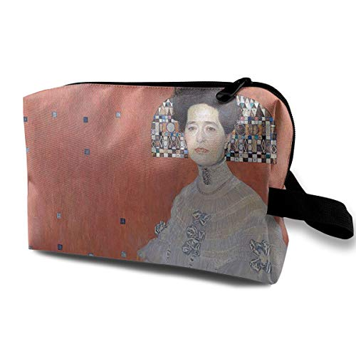 (MKJHACKE Famous Paintings Portrait of Fritza Riedler Toiletry Bag Multifunction Cosmetic Bag Portable Makeup Pouch Waterproof Travel Hanging Organizer Bag for Women Girls)
