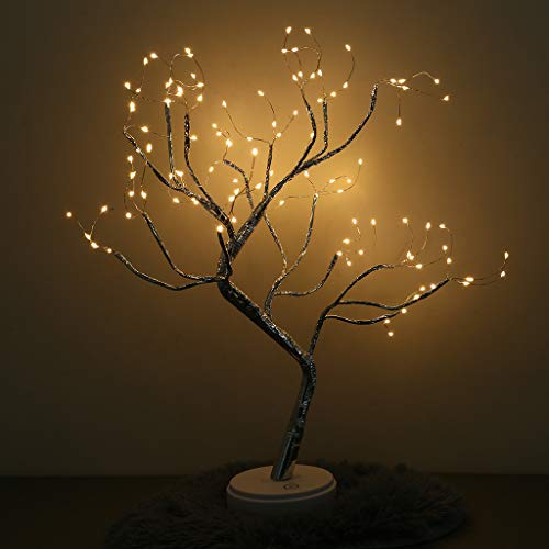 108 LED Tree Light USB Battery-Operated Copper Wire Bonsai Tree Light With Touch Switch Home Decoration Night Light ()