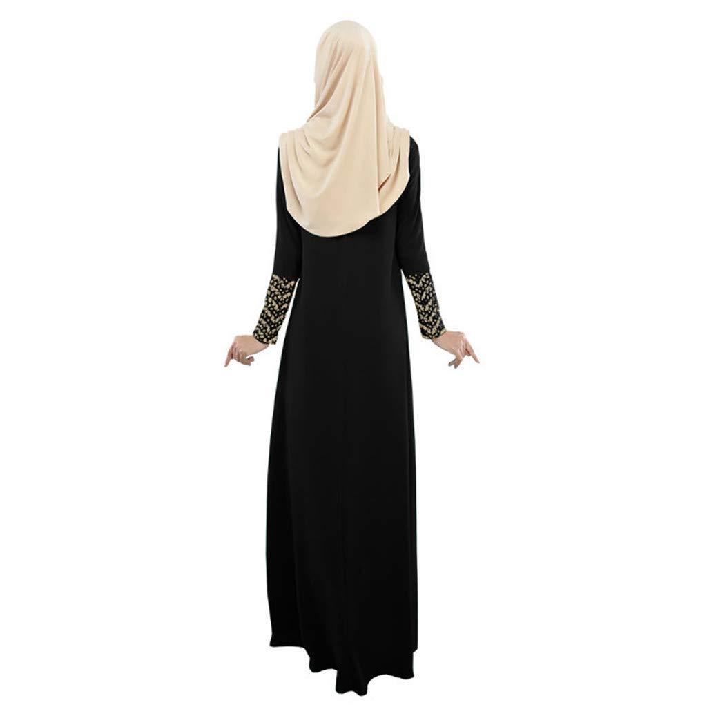 TIFENNY Women Long Maxi Dress Dubai Stripe Ethnic Patchwork Gown Islam Abaya Kaftan Muslim Loose Dresses