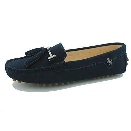 Miyoopark Women s Uformell Dusk Semsket Skinn Loafers Utendørs Innendørs Leiligheter Pers Marineblå