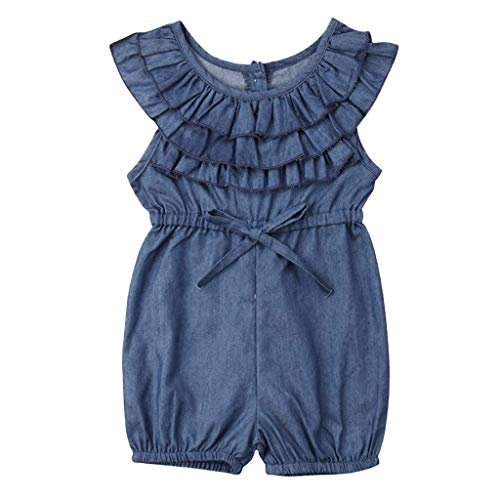 YOUNGER TREE Toddler Kids Baby Girls Rompers One Piece Denim Short Overalls Bow Ruffled Jumpsuit 1-5T (18-24 Months, Navy Blue)