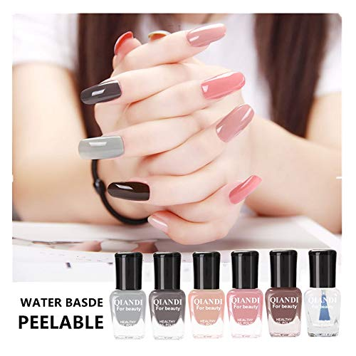 Gel Nail Polish Set VEGOLS 6PCS Water Based Peelable Quick Dry Varnish Soak Off Gel Nail Polish Neon Rainbow DIY Safe Manicure Nail Polish Art, 6PCS Set, 0.5 ml Each Bottle (Best Nail Varnish Brand)