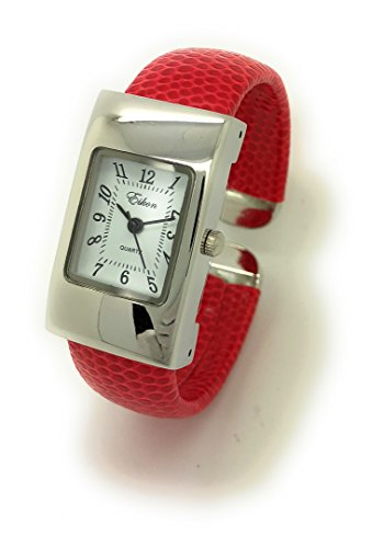 White Leather Cuff Watch - Ladies Small Rectangle Snakeskin Leather Bangle Cuff Watch White Dial Eikon (red)